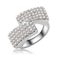 rings jewellery - Simple Style Clear Full Rhinestone Ring Platinum Plating Silver Ring SWA Elements Austrian Crystal Rings Jewellery Ri HQ0033
