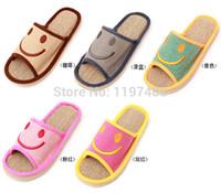 Wholesale New Arrival Smiley Pattern Summer home Hemp linen EVA slip resistant lovers indoor slippers
