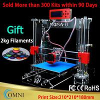 Cheap Wholesale-Acrylic Frame LCD Screen Acquired Reprap Prusa i3 desktop 3D Printer Machine High Precision impressora DIY Kit with 2Kg Filament
