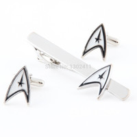 Wholesale Star Trek Tie Clip and Cufflinks Set w Gift Box Men s French Shirt Wedding Party Gift Marvel Comics Avengers