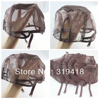 Wholesale U part Brown Machine Made wig Cap High quality stretch adjustable U part wig caps with combs Size Medium Inventory