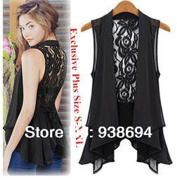Wholesale-2015 new Top Chiffon Casual Sleeveless Plus Size medium-long chiffon vest Patchwork sleeveless irregular edge lace vest