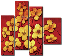Cheap 4 piece abstract modern muti panel canvas wall art Vertical red flower oil painting on canvas for living room kids decoration