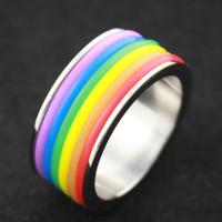 Wholesale 2016Titanium Steel Rainbow Rings gay pride jewelry for men and women