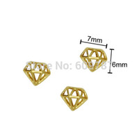 nail charms - Gold Diamond Shape Alloy Nail Art Charms Beads Glitters DIY Decorations
