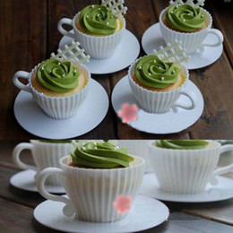 Wholesale DIY Silicone Cupcake Cup Cake Baking Mould Muffin Tea Saucers Teacup Mold