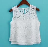 Cheap Wholesale-2015 New Women's White Embroidery Lace Hollow Chiffon Tank Top Vest Ladies Sexy Shirt Crochet Floral Crop Tops blusa de renda