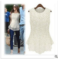 Wholesale Hot sale Summer Fashion Casual Women Lined Cotton Lace Sleeveless Dresses White Black Sexy Vest Blouse