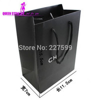 Cheap Wholesale-35Pcs,High Quality 7*11.4*15.5CM Black Have CH Logo Jewelry Box Kraft Paper Gift Bag,Festival Gift Bags,Paper Bag With Handles