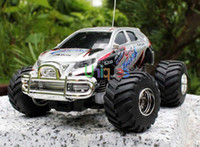 Wholesale Free Ship WLtoys Mini RC Remote Control Monster Truck Channel One key Accelerate Speedy SUV off road Car Electric Model