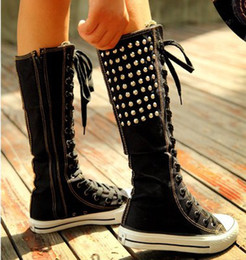 Wholesale-2015 New Arrival Rivet Canvas Boots Women's Lace-up Punk EMO Canvas Sneakers Ladies Knee High Fashion Shoes Girls Long Boots