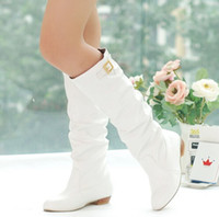 Cheap Wholesale-2015 New Women Low-heeled Knee-high Boots European Style Women Motorcycle Boots Winter Sweet PU Lady Shoes Big size 34-44 619