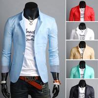 Wholesale X006 new summer fashion men s suits Korean style slim one buckle jacket casual Striped men Linen blazer terno masculino