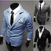 Wholesale New Fashion Cardigan Suit Long Sleeve Stylish Slim Fit Casual Coat blazer blazers for men Black Blue Gray XS S M L