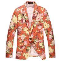 urban clothing - Spring Autumn New Arrival Fashion Designer Men s Floral Orange Blue Green One Button Blazer Suit Cool Men Urban Clothing