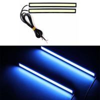 Cheap New 2 Pcs lot 17cm COB Super Bright Ice Blue Car LED DRL Driving Daytime Running Lights 12V #55322