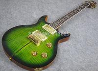 santana - Double Cut Way Electric Guitar with Flamed Maple Top Green Burst Santana