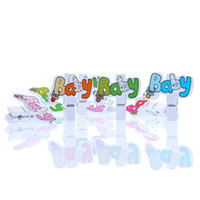 Cheap Wholesale-Scrapbokking Products 30PCs Mixed Cute BABY Letters Pattern Wooden Photo Clips DIY Ornaments