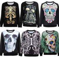 Cheap Wholesale-2015 New Women Hoody Harajuku Skull Print Sweatshirt 3D Hoodies Homme Femme Casual Pullover Crew Neck Sweat Suit Sudaderas