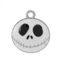 halloween charms - B47174 Charm Pendants Nightmare Before Christmas Halloween Skull Silver Tone Enamel White mm x mm