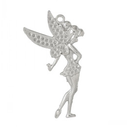 B47379 Charm Pendants Flower Fairy Wing Silver Tone(Can Hold ss10 Rhinestone)7.3cm x 3.9cm,10 PCs
