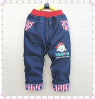Wholesale High quality KK RABBIT summer style and thick winter warm cashmere kids pants Boys children jeans baby jeans