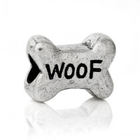 carved bone beads - B43218 European Charm Beads Bone Antique Silver quot Woof quot Carved About mm x mm Hole Approx mm