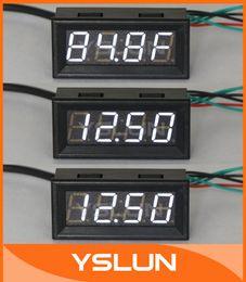 Измеритель температуры панели Онлайн-Оптово-12 Volt DC Автомобильный цифровой электрические часы температур Измерение напряжения Белый светодиод Панель датчиков метр с Temp Probe # 100136