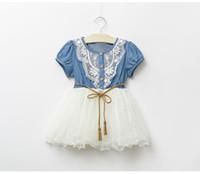 Wholesale girls summer denim dress Kids cowboy lace dresses girl short Sleeve princess clothes girl casual clothe