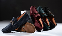 boat shoes - EU Genuine Leather Buckle Slip On Comfy penny driving Loafer mens boat shoes