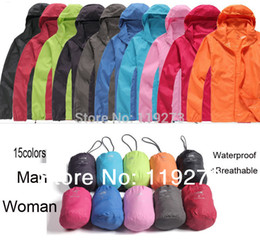 Wholesale New Women Men Ultra light Outdoor Sport outwear Quick dry HuntingMale camping Mountaining jacket color XS XL Rain Coat
