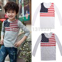 american flag t shirt - hot sale NEW FASHION Korean Baby Kids Boy Girl American Flag T shirt Tops Long Sleeve Shirt Y CA