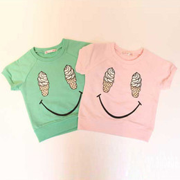 Wholesale NewKids Girls Short Sleeve T shirts Ice Cream Smile Casual Tops Cotton Costume Y