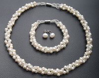 al por mayor perlas naturales sistemas de la boda-Venta al por mayor barata caliente-real cultivada de agua dulce de la perla natural pulsera del collar Pendientes de boda joyería nupcial para la Mujer Mujer