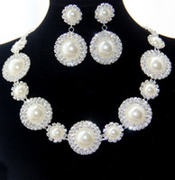 Cheap Wholesale-Free Shipping High Quality Fashion Pearl Costume Promotion Earrings and Neklace Bridal Pearl Jewelry Sets Free Drop Shipping
