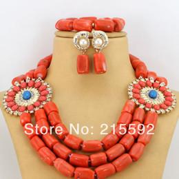 Mariage met en vente à vendre-Gros-New Nigerian Mode Perles africaines de mariage Ensemble de bijoux de perles de corail Ensemble de bijoux bijoux de mariée Vente chaude Livraison gratuite CJ100
