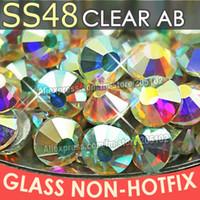 glue on nails - SS48 mm Clear Crystal AB bag Non HotFix FlatBack Rhinestones glass DMC glue on loose DIY nail crystals stones