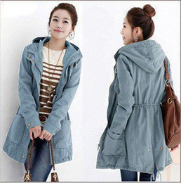 Wholesale-Preppy Style Zipper Drawstring Hooded Trench Coats For Woman Spring 2015 Slim Fit Plus Size Hoody Overcoats