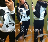 Cheap Wholesale-Details about NWT Cute Celebrity Mickey Blouse Hoodie Sweat Sweatshirt Track Sweatpants Set + sport suit women Free shipping