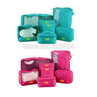 Wholesale Pieces Set Travel Accessories Men and Women s Solid Waterproof Nylon Portable Luggage Packing Organizer Bag