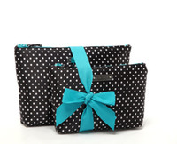 makeup for women of color - Set of Fashion Satin Cosmetic Bags Black Color w Dotted Pattern for Women Handbag Makeup Storage Bags