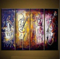 Cheap 4 piece abstract modern muti panel canvas wall art colorful music oil painting on canvas for living room kids decoration