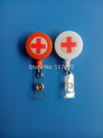 medical id - wholesales RED CROSS ID PULL Retractable BADGE REEL hospital medical nurse holder