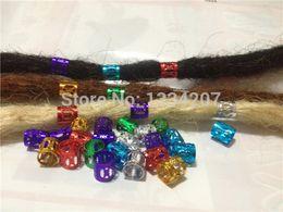 Wholesale-Free Shipping 100Pcs/Lot multi coloured Hair Dreadlock Bead adjustable cuff clip 8mm hole clip