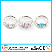 Wholesale Horizontal Princess Septum Clickers with Cubic CZ Nose Ring Colors G of Body Jewelry
