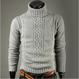 Wholesale retail and Geometric pattern man classic winter warm necessary irregular head high neck sweater set free delivery