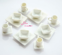 Wholesale OF Quality Dollhouse Miniature White porcelain Square Dish Cup DC124