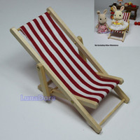 Cheap Wholesale-Stripe Red Foldable Beach Chair Wood 1:12 Dollhouse Miniature For Re-ment Orcara Miniature Toys Furniture Dolls Accessories