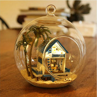 Wholesale DIY Glass Ball Doll House Model Building Kits Wooden Mini Handmade Miniature Dollhouse Toy Birthday Gift Romantic Aegean Sea