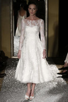 dresses new york - New York Bridal Week A Line Wedding Dresses Lace Applique Sheer Bateau Long Sleeve Ankle Length Bridal Gown With Tiers BBD5090